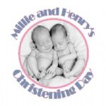 Personalised Girl Boy Twins Photo Christening Sticker